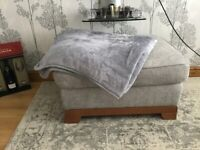 Grey chenille footstool