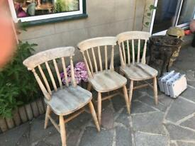 3 pine chairs