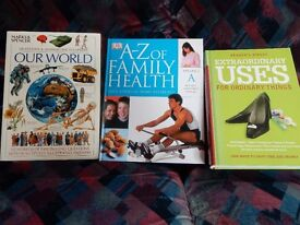 Three Books: 'Our World', 'A-Z of Family Health' and 'Extraordinary Uses for Ordinary Things'