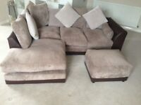 Byron Fabric Left Hand Corner Group Sofa & Footstool Brown Beige Extra Cushions
