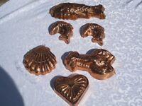 COPPER ORNATE JELLY MOULDS