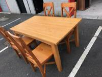 Solid Pine Dining Table +4 Chairs