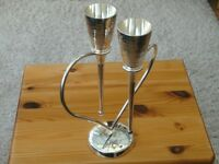 Silver Plated Hammered Lovers Flutes on Heart Stand