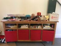 Hemnes wood console table side table storage shelf