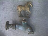 solid brass outside tap in the shape of a horse