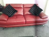 Beautiful 2+3 sofas bought from harveys rubin red soft leather smoke free pet free