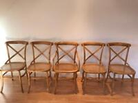 Mid century cross back vintage pine bentwood chairs and round table