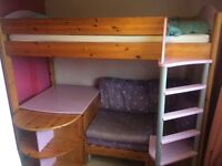 Solid wood cabin single bed with desk, sofa and pull out bed