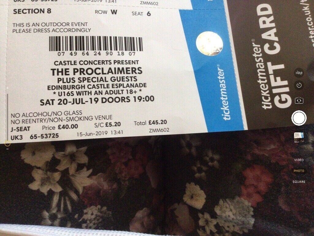 The Proclaimers Seated Concert Ticket,Edinburgh Castle Sat 20th July,sold  out event | in Kelty, Fife | Gumtree