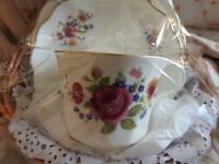 Beautiful Vintage Summer Rose bone china trio perfect b.day/ wedding/ get well /anniversay