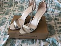 Silver strapped shoes uk size 6