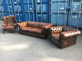 Chesterfield Brown Leather Suite Possible Delivery