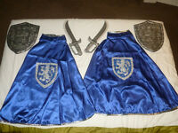 Musketeer cape sword and sheild fancy dress