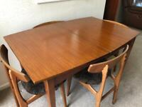 Vintage, Teak, Mid-Century Style Extendable Dining Table with 4 Chairs, Great Condition.