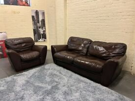HARVEYS BROWN LEATHER SOFA SET 3 & 1 SEATER NICE CONDITION COMFY + FREE DELIVER