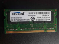 4GB DDR2 800 MHz PC2-6400S SO-DIMM 200-PIN Laptop RAM Crucial/Micron memory