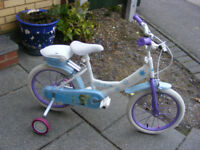 """GIRLS 16"""" WHEEL FROZEN BIKE WITH FITTED STABILISERS GREAT CONDION AGE 4-7"""