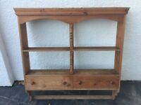Wall mounted pine shelf with draws