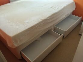 Double divan bed with drawers and mattress