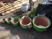 Garden Pots. Different colours and shapes
