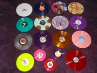 """1x 12"""" coloured vinyl / picture disc wall clock pink purple red blue green white"""