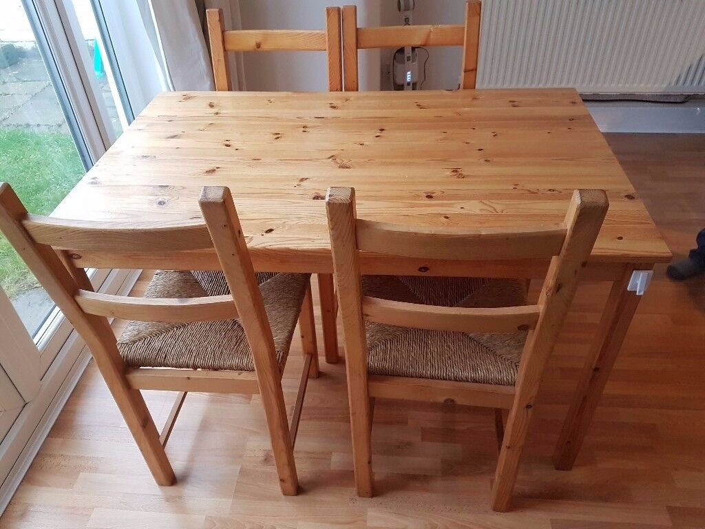 Wooden Table And 4 Dining Chairs For Sale