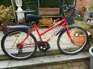 ladies red apollo 18 inch frame bike with lock