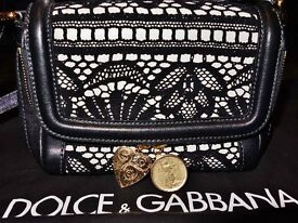 **BRAND NEW** D&G GENUINE Dolce & Gabbana Black & Cream with Crotchet Overlay ART.BB4475A47271