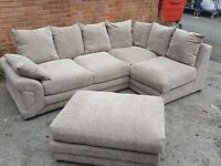 Lovely Brand New Beige fabric corner sofa and footstool.or larger corner.can deliver