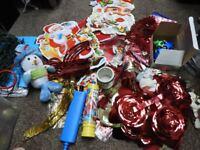 Christmas Decorations bundle including tinsel, tree decorations, ornaments, hanging decs + 2 pumps
