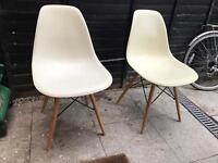 2 x eames style cream wooden legs dining chairs mid century modern retro