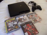 PLAYSTATION 3 SLIM (160GB ) BOXED WITH 4 GAMES