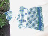 Girls Tartan Dress with pants and bonnet Age 6 months.
