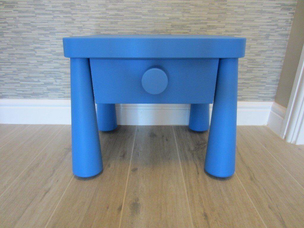 Ikea Mammut Bedside Table In Blue