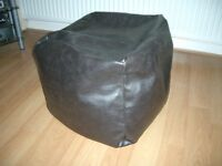 BROWN FUAX LEATHER FOOTSTOOL POUFFE SQUARE