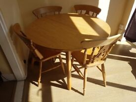 Solid wood table and 4 lovely chairs
