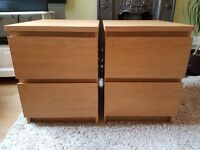 2 x Ikea Malm Oak veneer 2 drawer bedside units