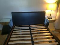 Beautiful Leather Double Bed frame in great condition, with or without bedside tables