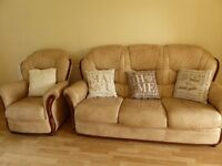 Leather three seater sofa and two chairs
