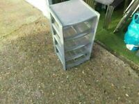 Tontarelli 4 Drawer Tower with Clear Drawers grey good condition and solid