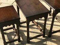 3 nested wooden tables
