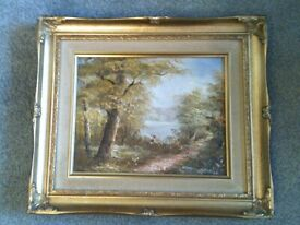 Vintage original framed landscape oil painting