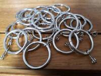 20 x 35mm silver curtain rings with clips