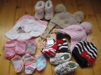 3-6 month baby girl clothing bundle includes dresses, sleepsuits, hats, shoes and socks