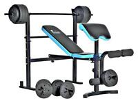 MENSHEALTH WEIGHT LIFTING BENCH AND WEIGHTS 50KG