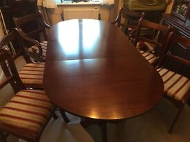 Antique lion foot dining table with 6 chairs