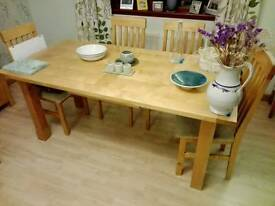 Dining Table + 6 Cushioned Chairs