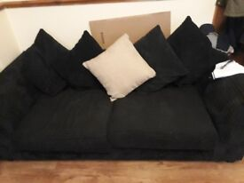 Two three seater black sofas COLLECTION ONLY