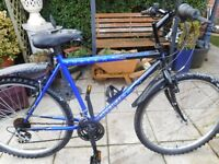 mans blue and black fusion 20 inch frame bike with lock