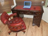Reproduction Antique Style Desk, matching Chesterfield Captain's chair, both in great condition.
